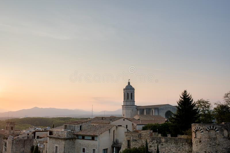 Cathedral in Girona at sunset stock photography