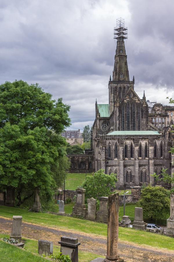 The Cathedral of Glasgow seen from Necropolis, Scotland UK. stock photos