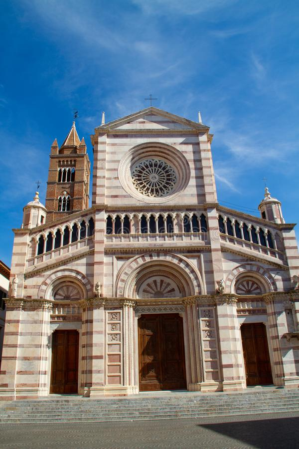 Cathedral of Grosseto 02. Cathedral of Grosseto, front view with blue sky royalty free stock image