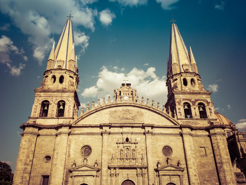 Cathedral of Guadalajara and a cloudy blue sky in Mexico royalty free stock images