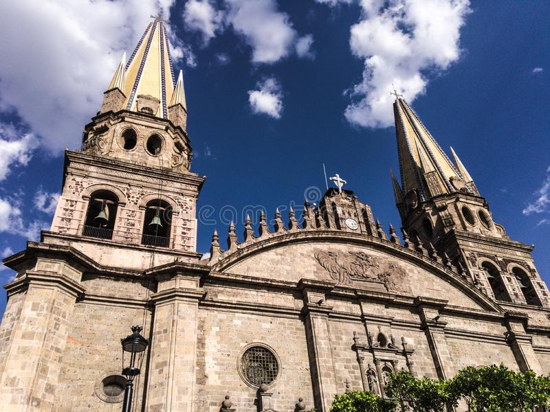 Cathedral of Guadalajara, Mexico with a Blue Sky and Clouds royalty free stock images