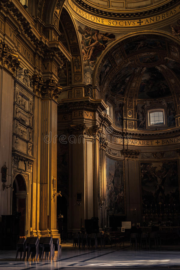 Cathedral hall interior. Interior of the cathedral hall stock photography