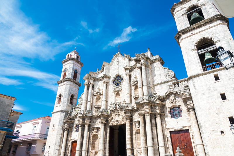 The Cathedral of Havana stock photography