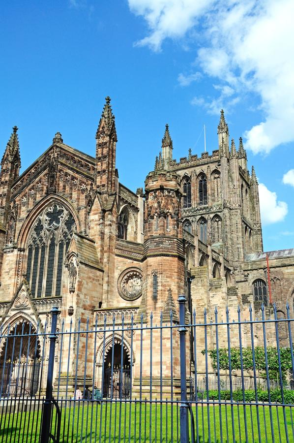 Cathedral, Hereford. Front view of the Cathedral, Hereford, Herefordshire, England, UK, Western Europe stock photography