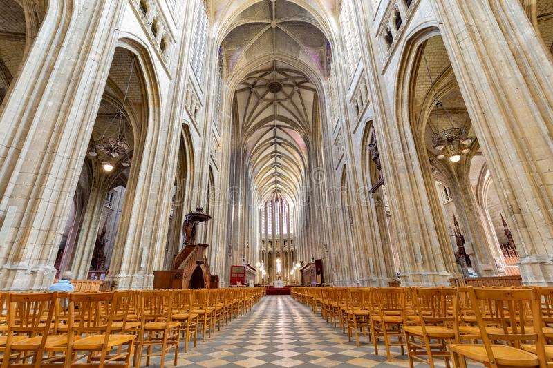 Cathedral of the Holy Cross in Orleans in France. Orleans, France, October 11, 2019: Interior of the Royal cathedral of the Holy Cross in Orleans in France royalty free stock photos