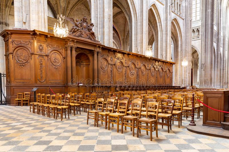 Cathedral of the Holy Cross in Orleans in France. Orleans, France, October 11, 2019: Interior of the Royal cathedral of the Holy Cross in Orleans in France stock image