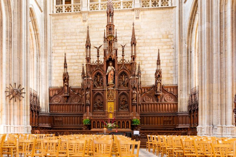 Cathedral of the Holy Cross in Orleans in France. Orleans, France, October 11, 2019: Ornate altar as part of the Interior of the Royal cathedral of the Holy stock photography