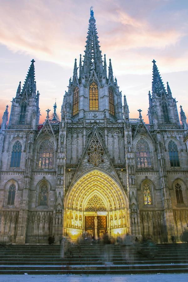 Cathedral of Barcelona spain. royalty free stock image