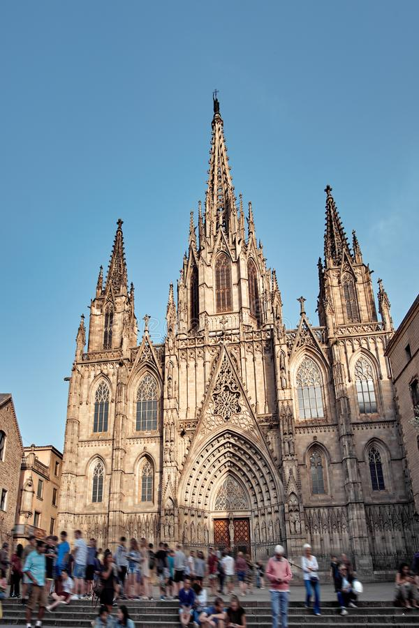 Cathedral of the Holy Cross and Saint Eulalia also known as Barcelona Cathedral, Gothic cathedral and seat of the Archbishop of stock photos