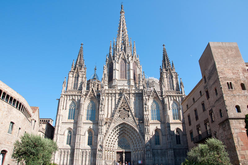 Cathedral of the Holy Cross and Saint Eulalia. Barcelona. Barcelona Cathedral on July 28, 2012 royalty free stock photo