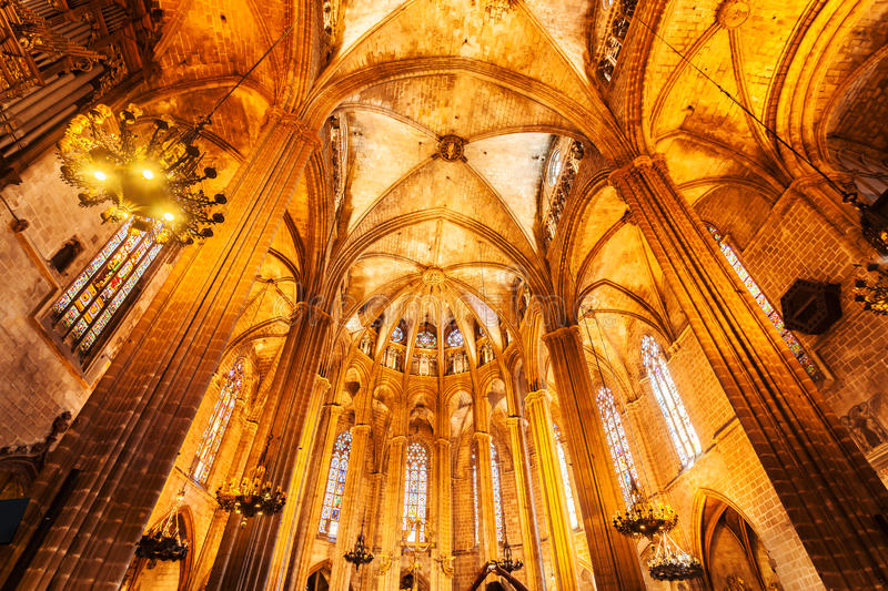 Cathedral of the Holy Cross and Saint Eulalia in Barcelona, Spain. Interior. stock photography