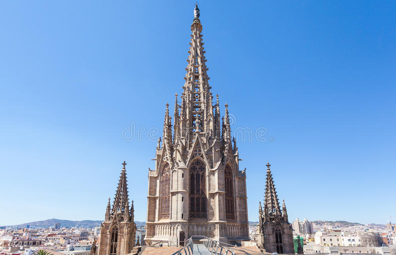 Cathedral of the Holy Cross and Saint Eulalia. On the roof stock photo