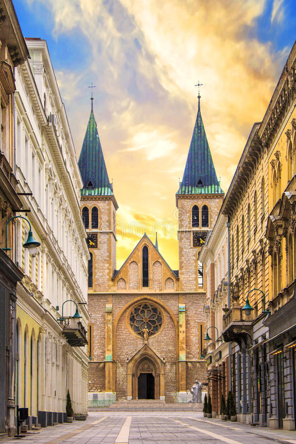 The Cathedral of the Holy Heart of Jesus in the Old City of Sarajevo, Bosnia and Herzegovina stock photo
