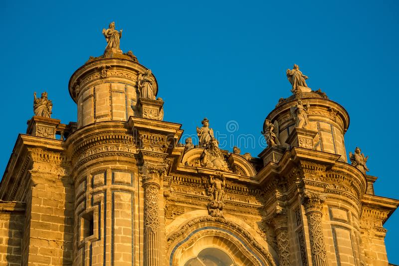 Cathedral of the Holy Saviour in Jerez de la Frontera. Photograph of the Cathedral of the Holy Saviour in Jerez de la Frontera in sunset, catolic church, Jerez stock photos