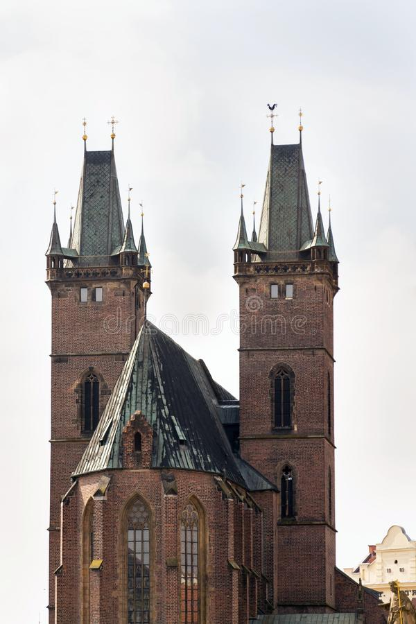 The Cathedral of the Holy Spirit, principal church and seat of bishop of Diocese Hradec Kralove, Great Square. Czech Republic stock photo