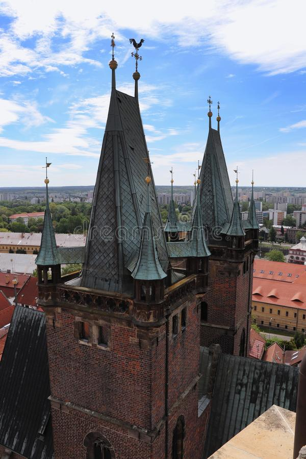 Cathedral of the Holy Spirit towers in Hradec Kralove, czech republic with blue sky and white clouds. Principal church. Basilica. With two towers, which is royalty free stock photography