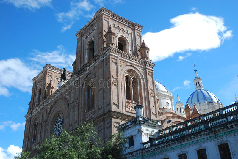 Cathedral of the Immaculate Conception , Cuenca, Ecuador. New Cathedral of Cuenca or Cathedral of the Immaculate Conception seen from Parque Calderon, Cuenca stock images