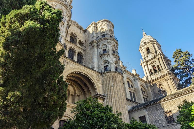 Cathedral of the Incarnation Catedral de la Encarnación in Malaga, Spain in the garden in sunshine stock photography