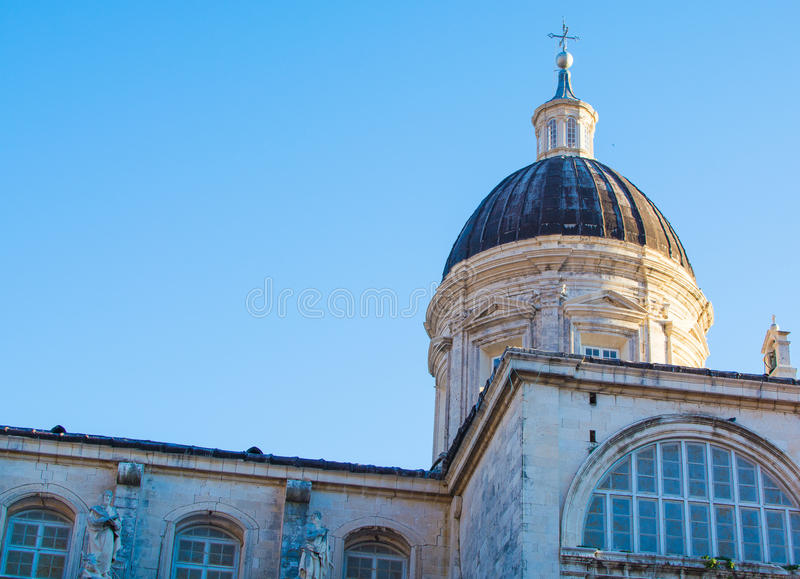 Cathedral inside the old town of Dubrovnik, Croatia stock photography