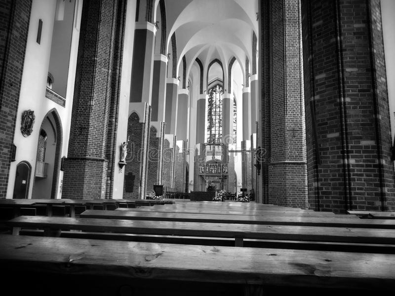 Cathedral Interior. Artistic look in black and white stock photography