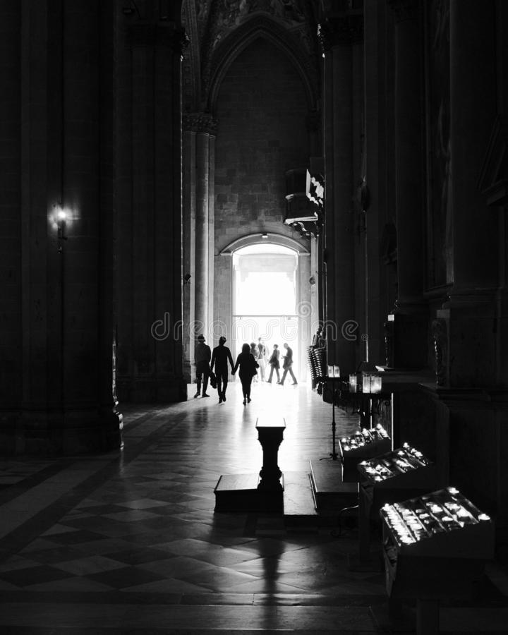 Cathedral interior in black and white stock photo