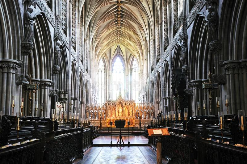 Cathedral interior, Lichfield, England. Inside view of the Cathedral showing the many arches, Lichfield, Staffordshire, England, United Kingdom, Western Europe stock image