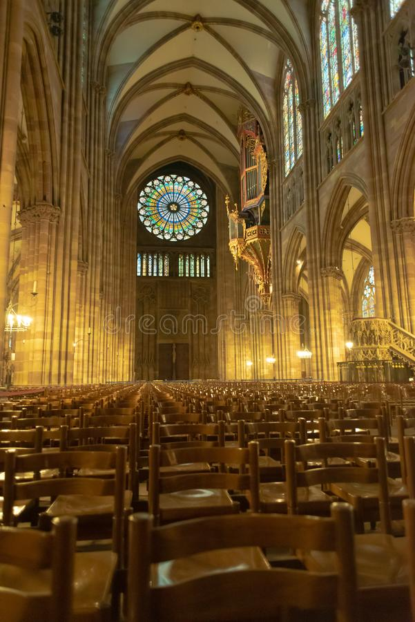 Cathedral Interior Notre-Dame de Strasbourg royalty free stock images