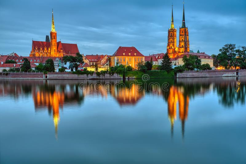 Cathedral Island with Cathedral of St. John at night in Wroclaw, Poland royalty free stock images