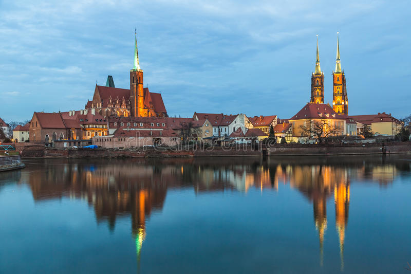 Cathedral Island in the evening Wroclaw, Poland royalty free stock image