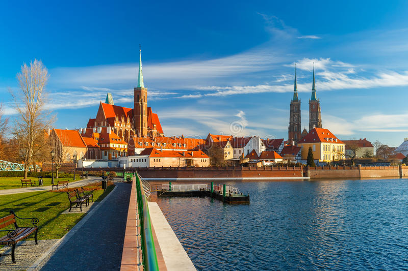 Cathedral Island in the morning, Wroclaw, Poland royalty free stock image