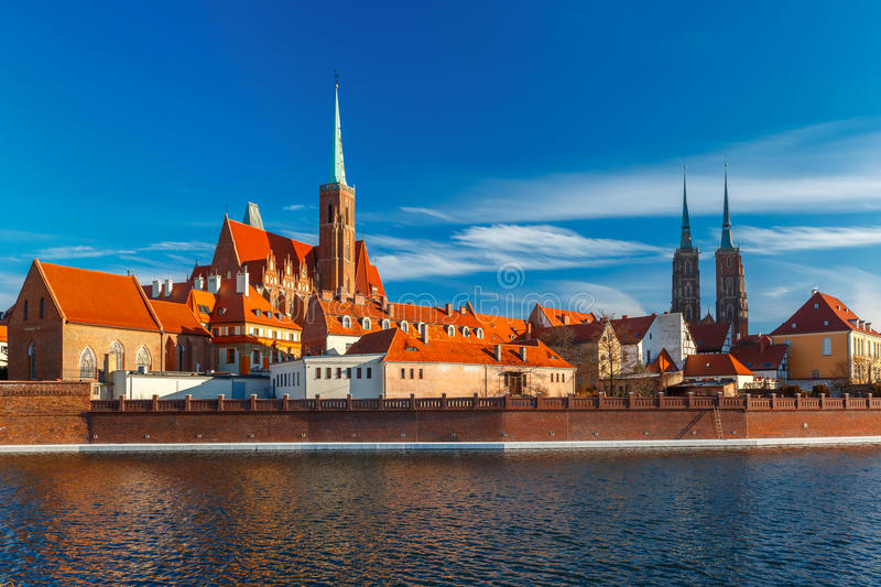 Cathedral Island in the morning, Wroclaw, Poland stock photos