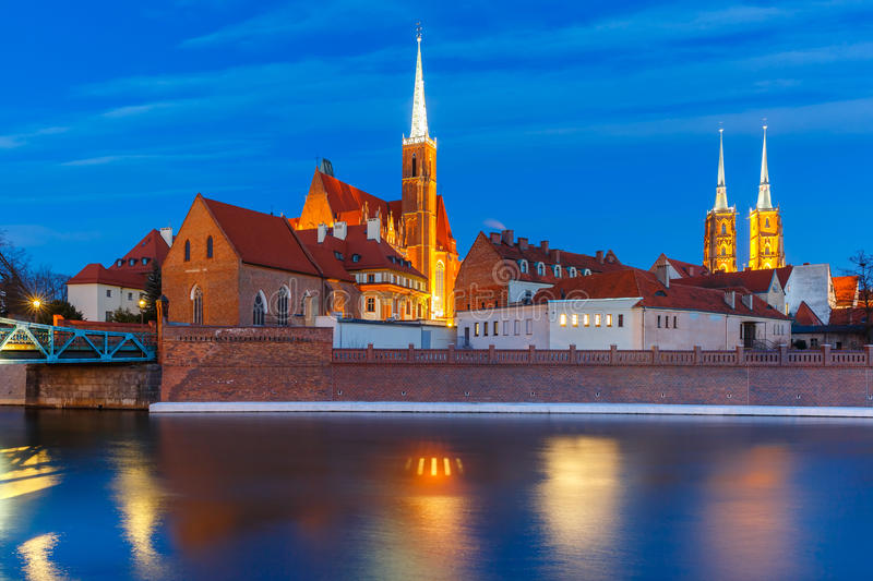Cathedral Island at night in Wroclaw, Poland royalty free stock photo