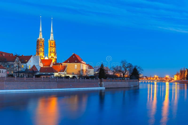 Cathedral Island at night in Wroclaw, Poland royalty free stock images