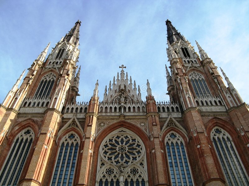 Cathedral, La Plata. Frontal shot of the Cathedral in La Plata, Argentina stock photo