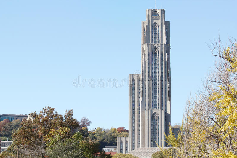 Cathedral of Learning. Taken from Phipps conservatory royalty free stock photography