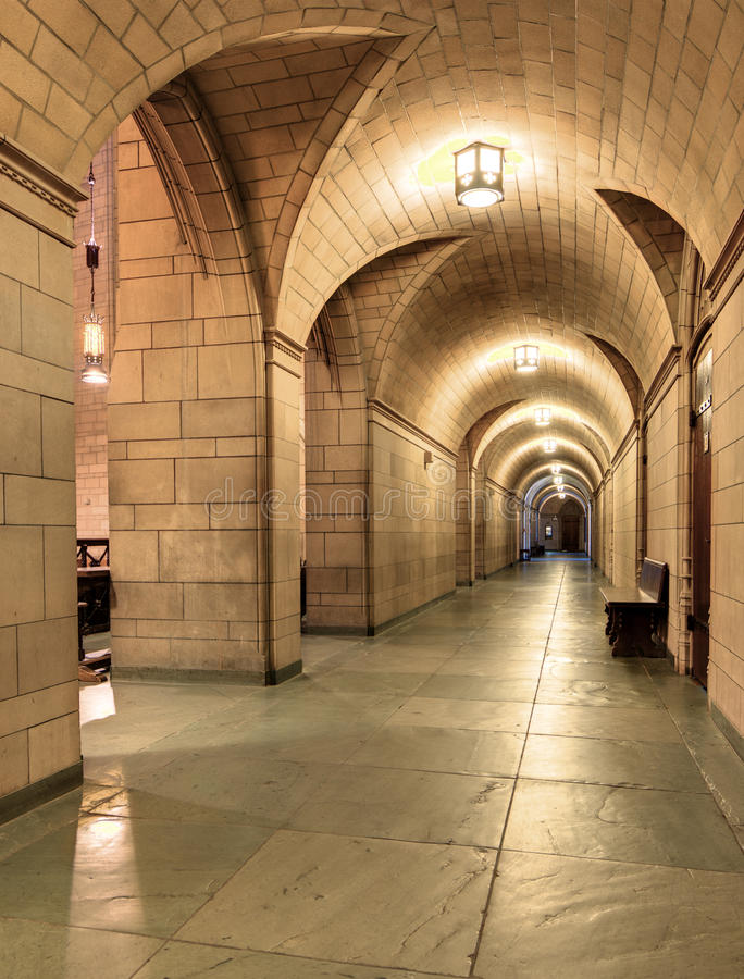 Cathedral of Learning. Hallway in the Cathedral of Learning at the University of Pittsburgh in Pennsylvania, USA royalty free stock photos