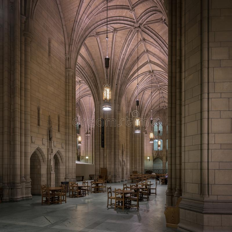 Cathedral of Learning Commons Room. Commons Room inside the Cathedral of Learning on the campus of the University of Pittsburgh in Pittsburgh, Pennsylvania royalty free stock photo