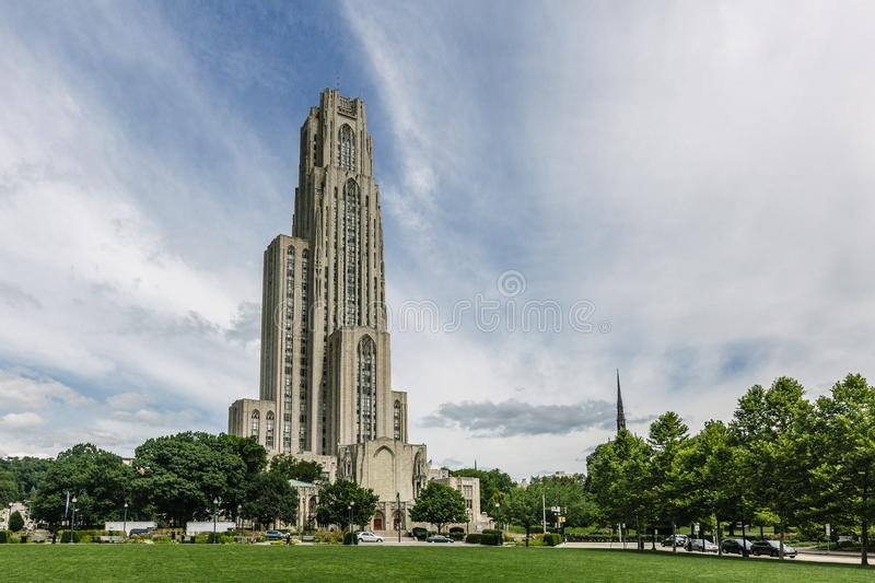 Cathedral of Learning in Pittsburgh. USA, on the campus of University of University of Pittsburgh royalty free stock photography
