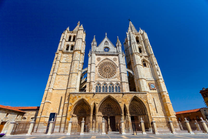 Cathedral of Leon, Spain stock photo