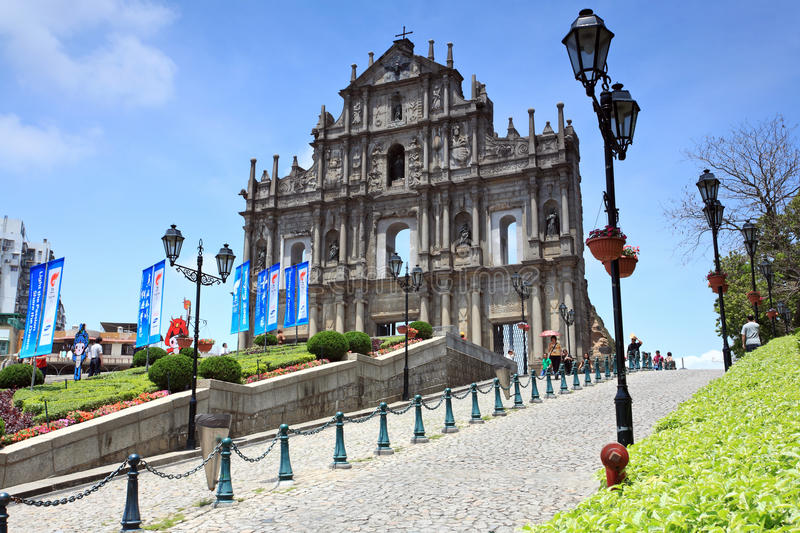 Cathedral.Macao de rue Paul images stock