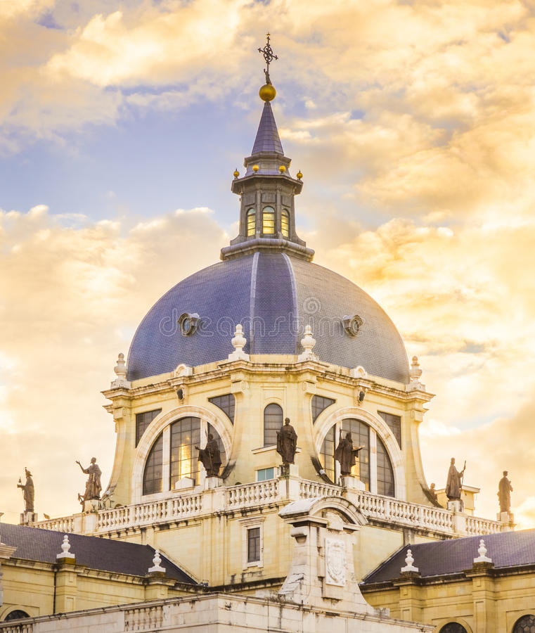 The Cathedral of Madrid. The Almudena Cathedral is the cathedral of Madrid, Spain, and is a modern building concluded in 1993. It is one of the attractions of royalty free stock image