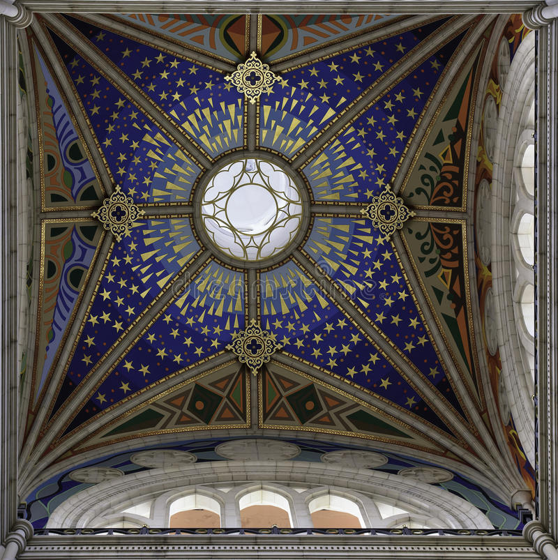 Cathedral Madrid ceiling stock photos