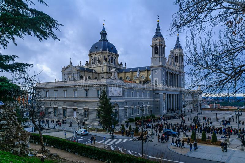 Cathedral of Madrid stock photos