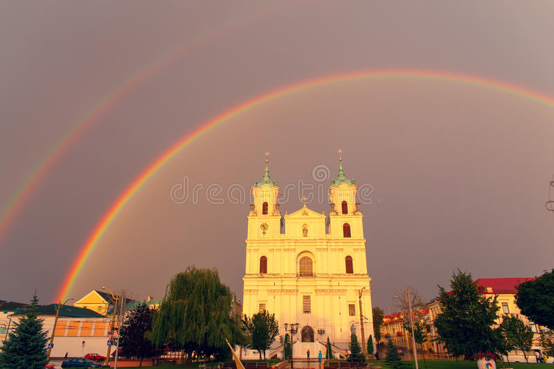Cathedral on the main city square royalty free stock photos