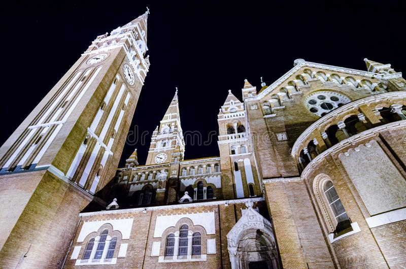 Cathedral on main square of Szeged, Hungary. Cathedral on main square of Szeged, Hungary at night stock photography