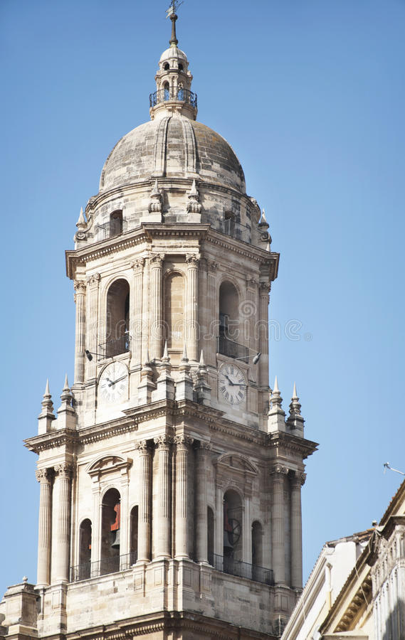 Cathedral of Malaga. Cathedral bell Malaga with blue sky stock photography