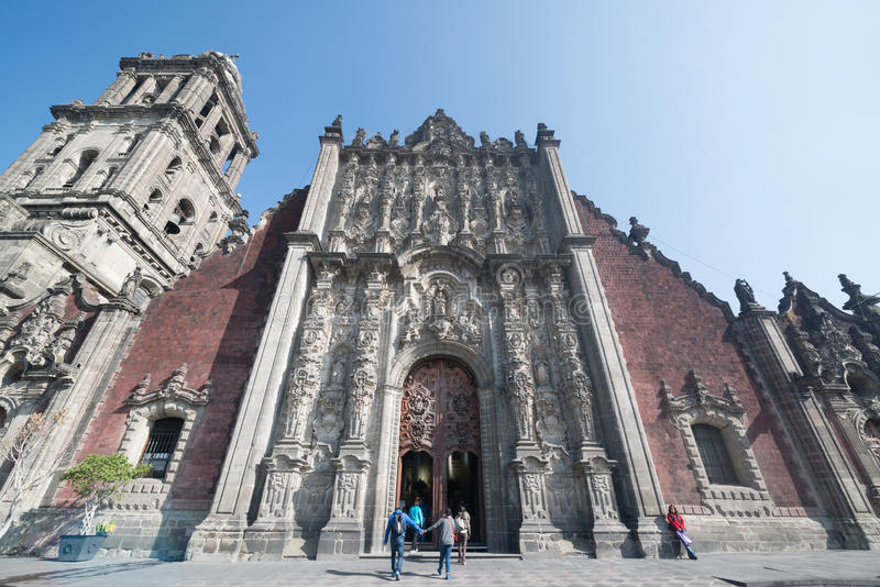 Cathedral metropolitana de la ciudad de Mexico on Zocalo square. Mexico city, circa february 2017: Cathedral metropolitana de la ciudad de Mexico on Zocalo royalty free stock images