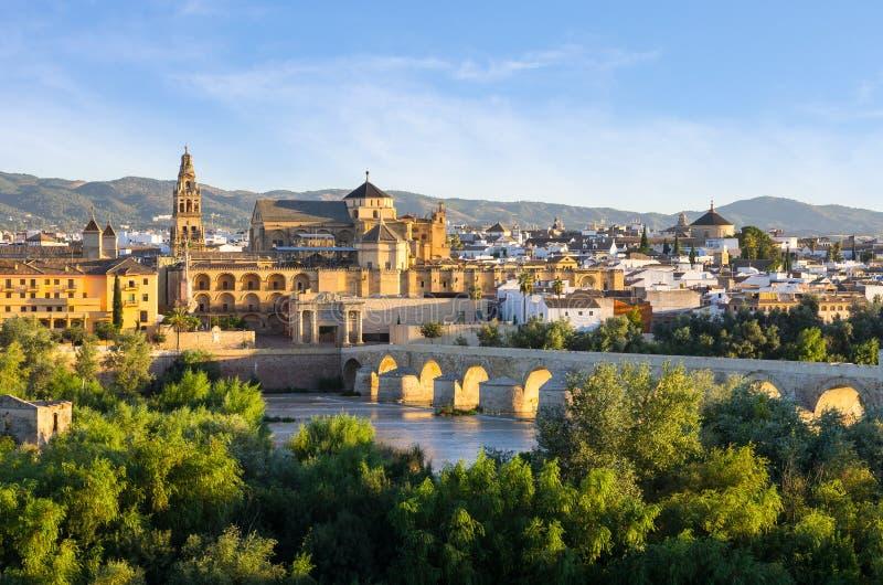 Cathedral, Mezquita and Roman bridge, Córdoba, Spain royalty free stock photos