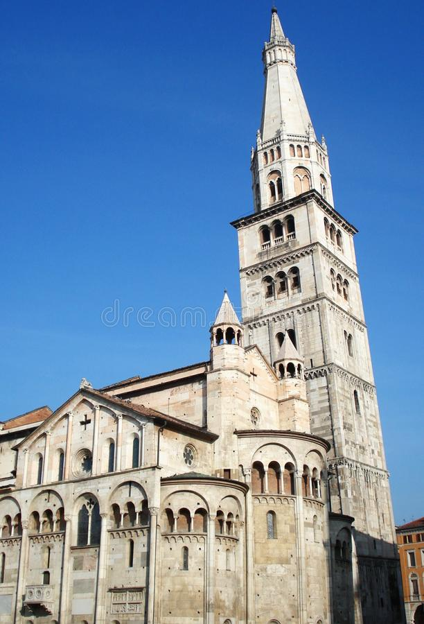 Cathedral of Modena with the Ghirlandina bell tower, Italy royalty free stock photo