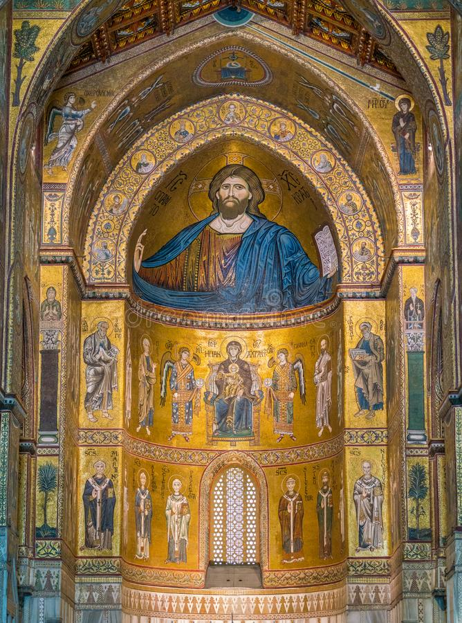 Golden mosaic in the apse of Cathedral of Monreale, in the province of Palermo. Sicily, southern Italy. The Cathedral of Monreale is a church in Monreale stock photos